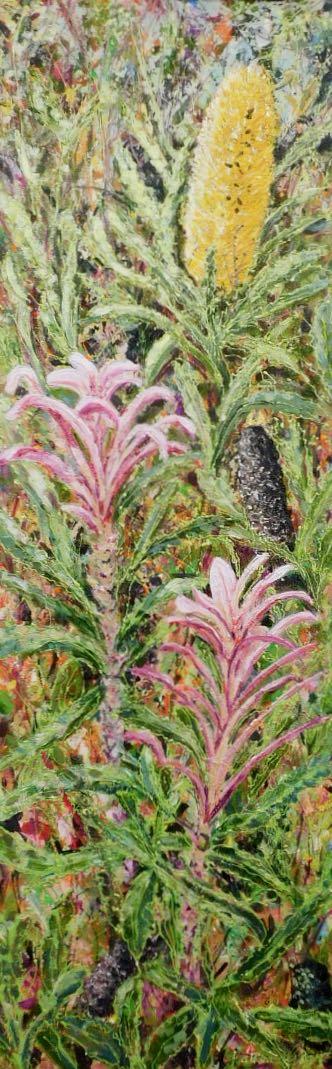 Bush Bouquet - Acrylic and Collage 30 x 90 cm $1800