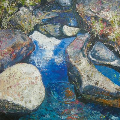 Hidden Pools - Acrylic and Collage 51 x 61 cm $850