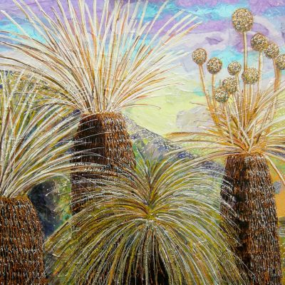 Grass Trees - Acrylic and Collage. Framed 70x120  $5000