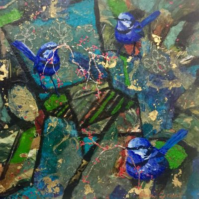 Blue Wren Magic - Acrylic and Collage 30 x 30 cm $500