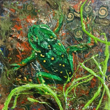 Green Spotted Tree Frog - Acrylic and Collage  20 x 20 cm $80