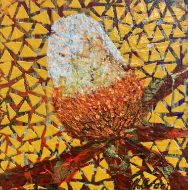 Banksia - Acrylic and Collage  20 x20 cm