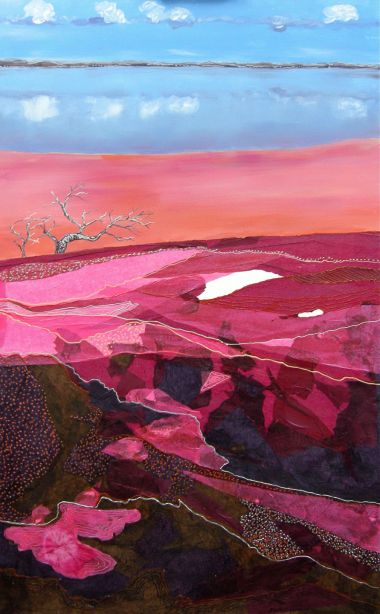 Pink Salt Lake - Acrylic and collage