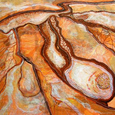 Simpson Desert - Acrylic and Collage 90 x 90 cm