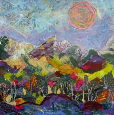Snow Capped Morn - Acrylic and Collage 46 x 46 cm