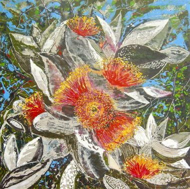 Eucalypt Blossom - Acrylic and Collage 80 x 80 cm