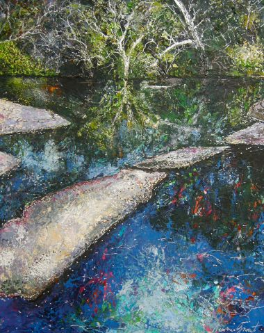 Reflective Pool - Acrylic and Collage 77 x 60 cm $950