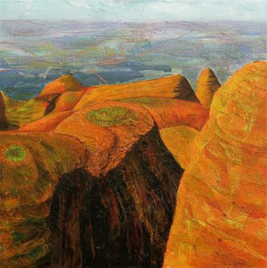 Kata Tjuta - Acrylic and collage 91 x 91 cm