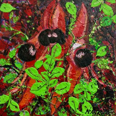 Sturt Pea - Acrylic and Collage 20 x 20 cm $80