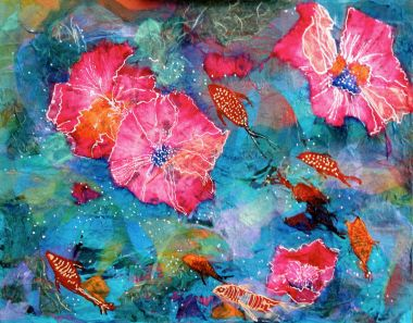 Floating Hibiscus - Acrylic and Collage 40 x 50 cm