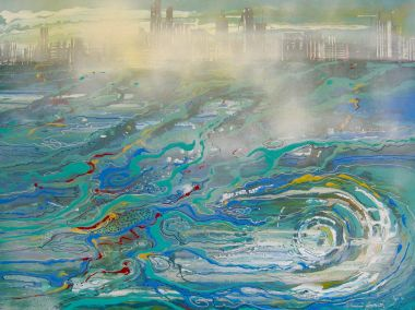Mist on the Swan River - Acrylic 100 x 76 cm