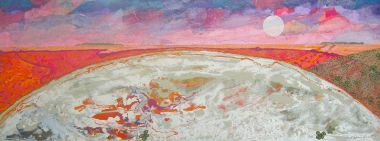 Salt Pan Moon - Acrylic and Collage 57 x 148 cm
