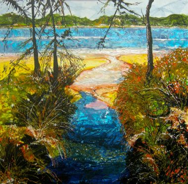 East Perth Inlet - Acrylic and Collage 50 x 50 cm