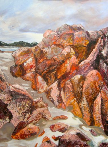 Bunker Bay Rocks 2 - Acrylic and Collage 90 x 75 cm