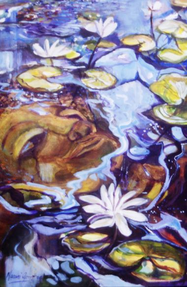 Buddah in the Lillies - Acrylic 35 x 52 cm Framed under Glass $900