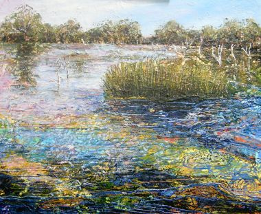 Wetlands 2 - Acrylic and Collage 46 x 56 cm