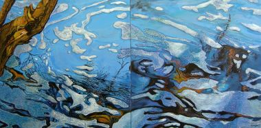 Submerged Reflection 1 and 2 - Acrylic and collage 91x 182cm
