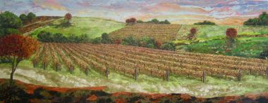 Swan Valley Vines - Acrylic and Collage 250 x 100 cm