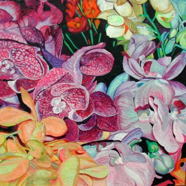 Orchids in Bloom - Acrylic 100 x 100 cm