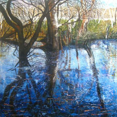 River Reflections - Acrylic and Collage 90 x 90 cm