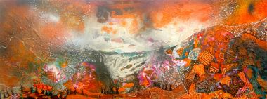 This Land's on Fire - Acrylic and Collage 45 x 119 cm  $3500