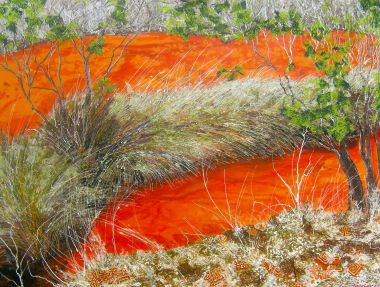 Baigup Wetlands - Acrylic and Collage 90 x 120 cm