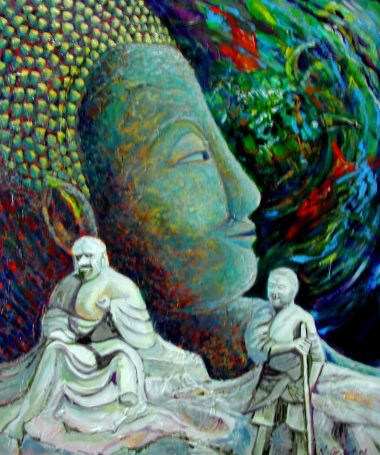 Budha and Monks - Acrylic 70 x 60 cm