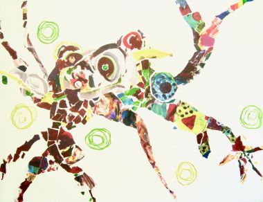 Jamie's Spiderboy - Acrylic and Collage 100 x 140 cm $5500